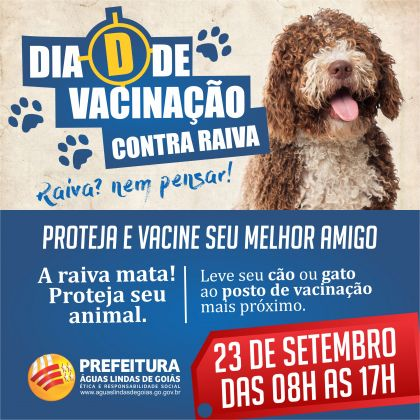 Notícias de Águas Lindas - Tudo pronto para o Dia D da Campanha de Vacinação Antirrábica neste sábado (23), em Águas Lindas