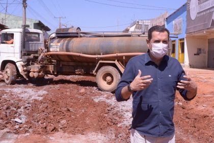 Notícia de Águas Lindas - Obras de pavimentação asfáltica está sendo realizada no Jardim Barragem I